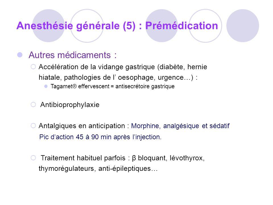 Thiopental Penthotal* Effets indésirables : Nausées vomissements Dépression respiratoire,apnée PA, tachycardie Contre-indiqué en cas de porphyrie, obstruction respi Voie IV stricte : Ladministration extra-vasculaire entraîne une nécrose tissulaire Ladministration intra artérielle entraîne un spasme +++ l Anaphylaxie exceptionnelle