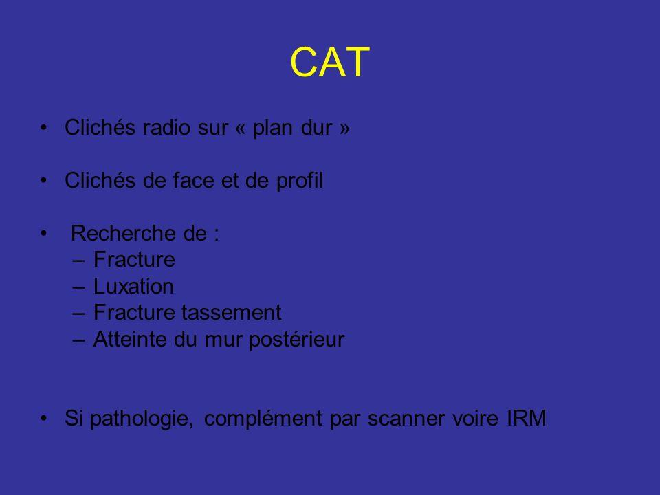 CAT Clichés radio sur « plan dur » Clichés de face et de profil Recherche de : –Fracture –Luxation –Fracture tassement –Atteinte du mur postérieur Si