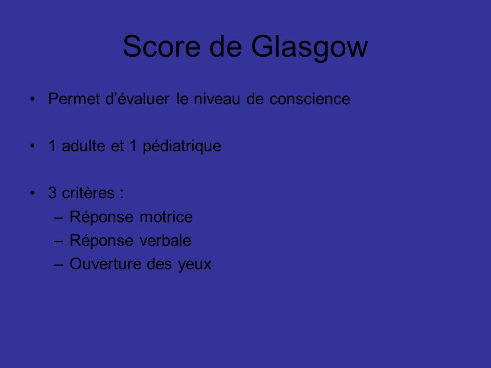 Score de Glasgow Permet dévaluer le niveau de conscience 1 adulte et 1 pédiatrique 3 critères : –Réponse motrice –Réponse verbale –Ouverture des yeux