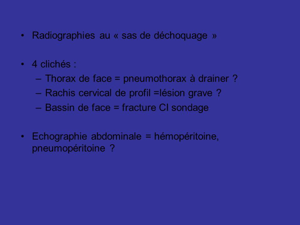 Radiographies au « sas de déchoquage » 4 clichés : –Thorax de face = pneumothorax à drainer ? –Rachis cervical de profil =lésion grave ? –Bassin de fa