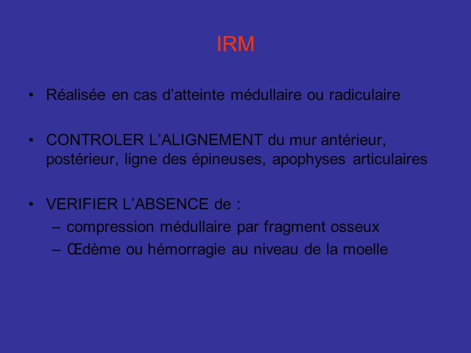IRM Réalisée en cas datteinte médullaire ou radiculaire CONTROLER LALIGNEMENT du mur antérieur, postérieur, ligne des épineuses, apophyses articulaire