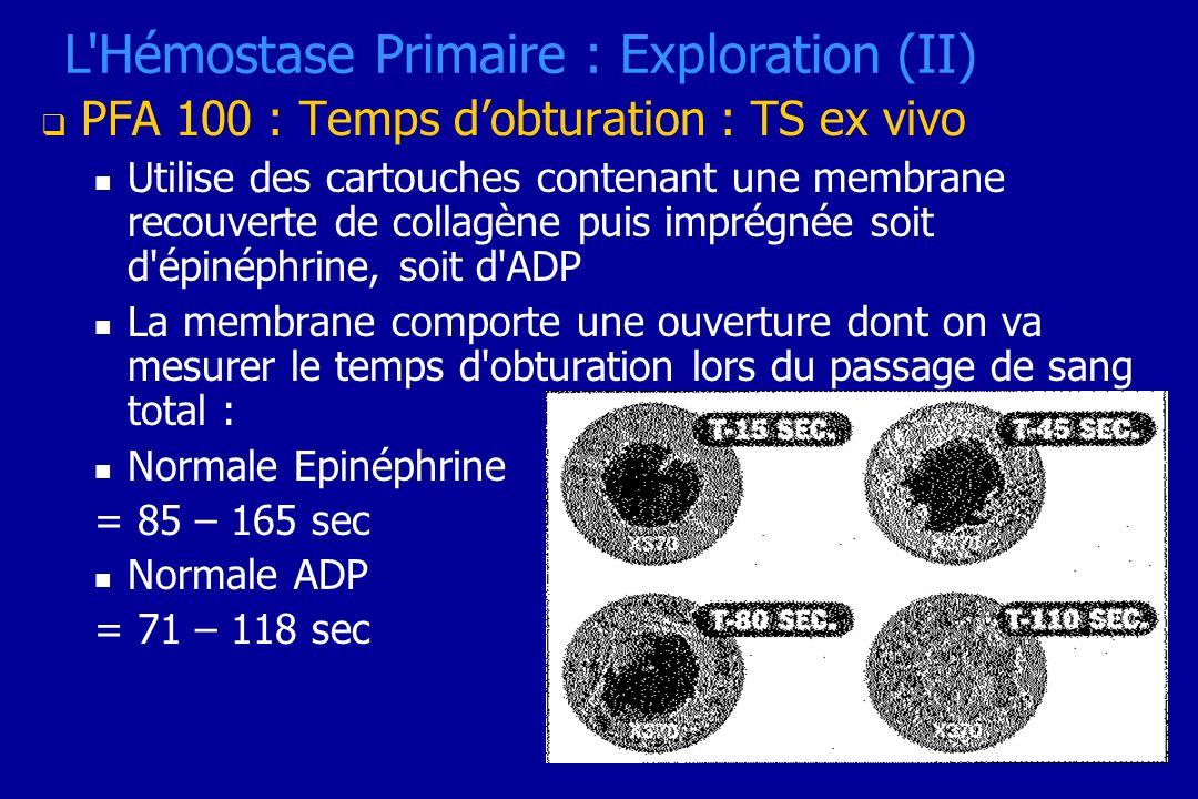 PFA 100 : Temps dobturation : TS ex vivo Utilise des cartouches contenant une membrane recouverte de collagène puis imprégnée soit d'épinéphrine, soit