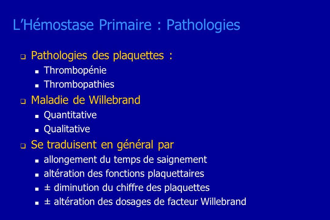 LHémostase Primaire : Pathologies Pathologies des plaquettes : Thrombopénie Thrombopathies Maladie de Willebrand Quantitative Qualitative Se traduisen