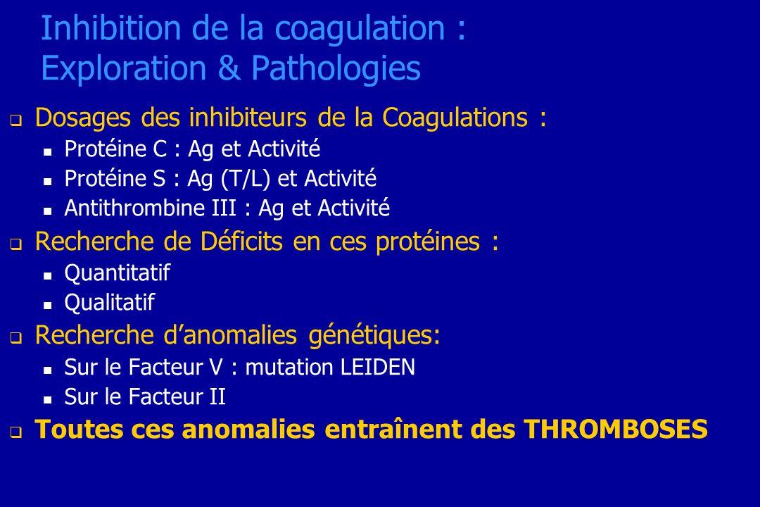 Inhibition de la coagulation : Exploration & Pathologies Dosages des inhibiteurs de la Coagulations : Protéine C : Ag et Activité Protéine S : Ag (T/L