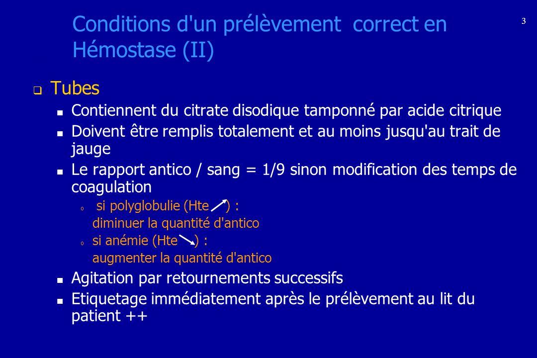 3 Conditions d'un prélèvement correct en Hémostase (II) Tubes Contiennent du citrate disodique tamponné par acide citrique Doivent être remplis totale