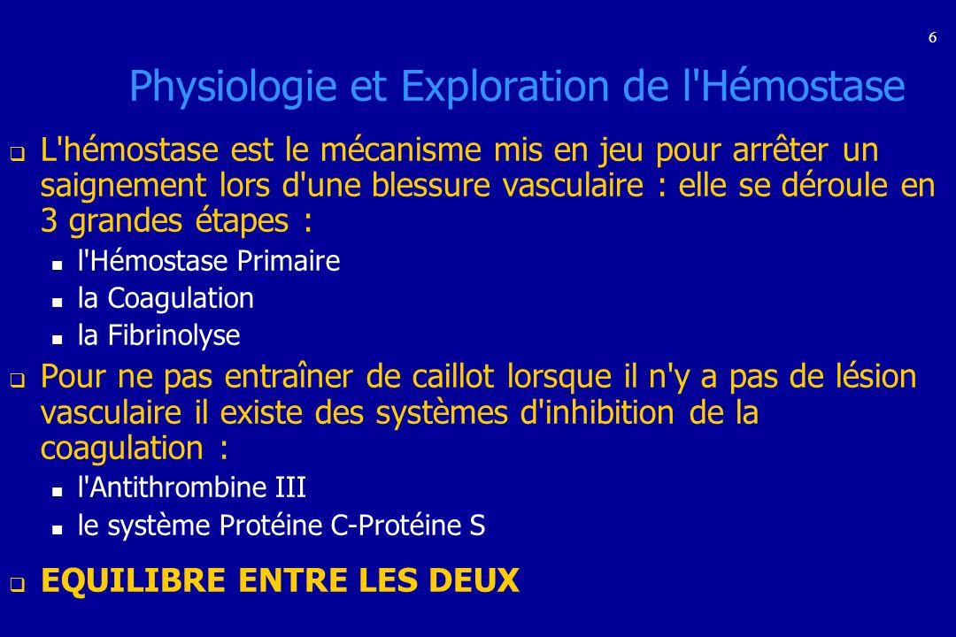 6 Physiologie et Exploration de l'Hémostase L'hémostase est le mécanisme mis en jeu pour arrêter un saignement lors d'une blessure vasculaire : elle s