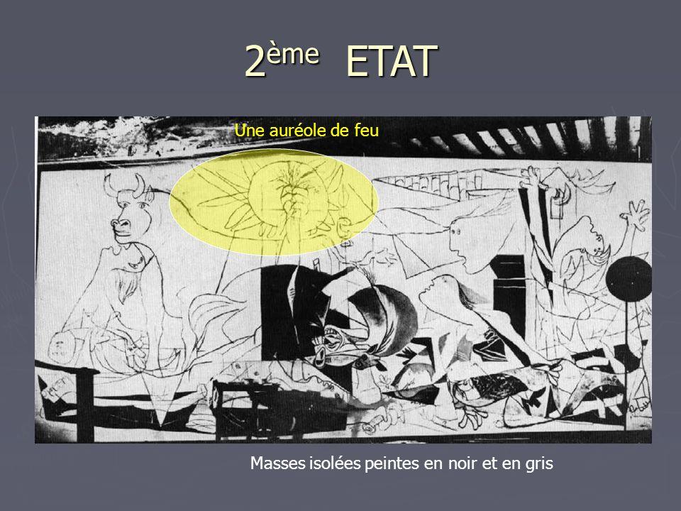 2 ème ETAT Une auréole de feu Masses isolées peintes en noir et en gris