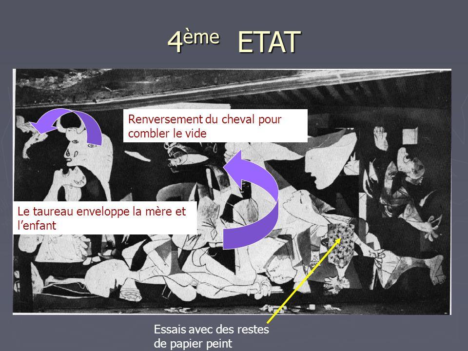 4 ème ETAT Renversement du cheval pour combler le vide Le taureau enveloppe la mère et lenfant Essais avec des restes de papier peint