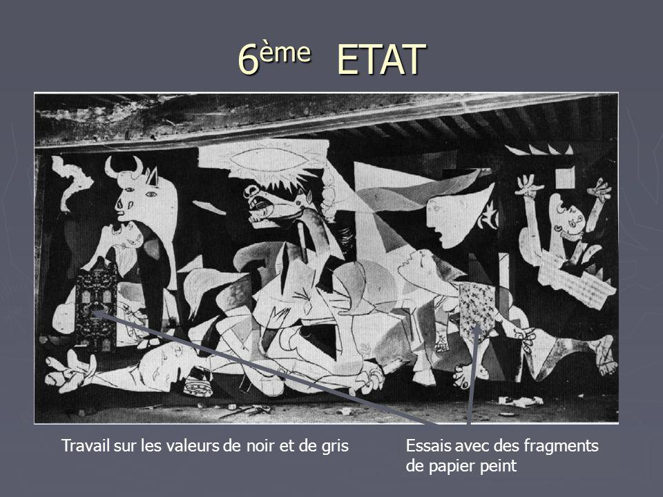 6 ème ETAT Travail sur les valeurs de noir et de grisEssais avec des fragments de papier peint