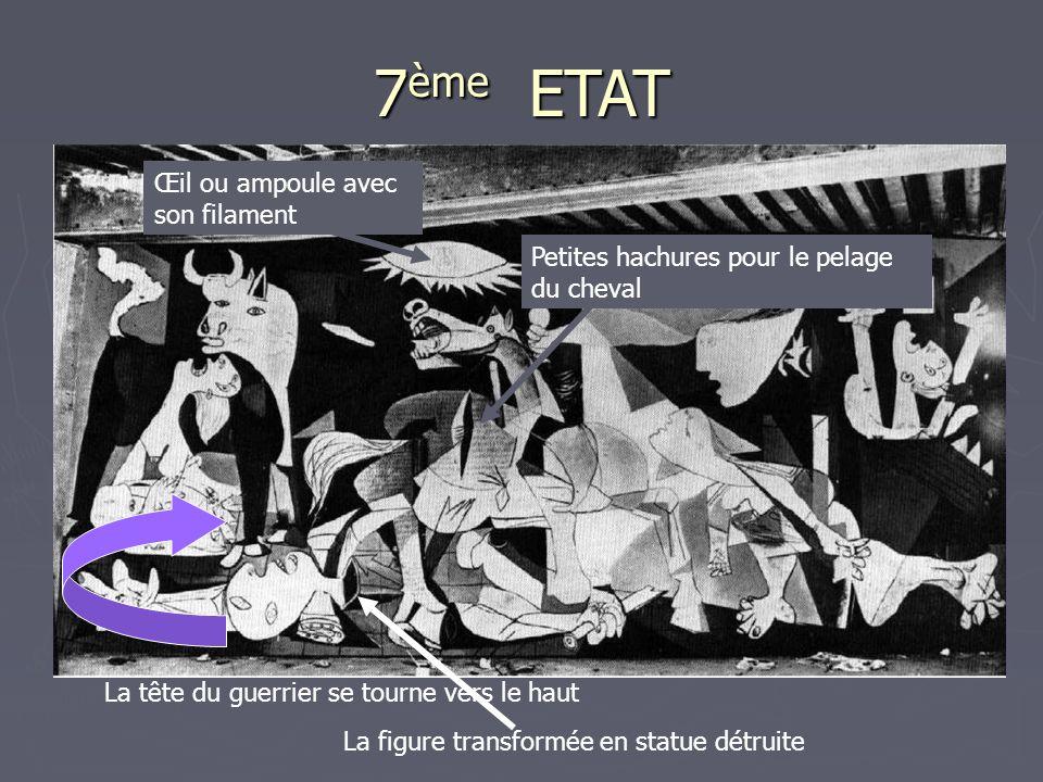 7 ème ETAT La tête du guerrier se tourne vers le haut La figure transformée en statue détruite Petites hachures pour le pelage du cheval Œil ou ampoule avec son filament