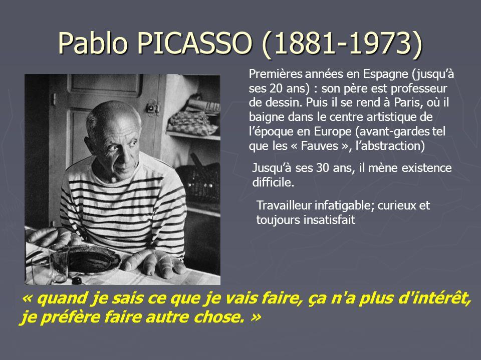 Pablo PICASSO (1881-1973) Premières années en Espagne (jusquà ses 20 ans) : son père est professeur de dessin. Puis il se rend à Paris, où il baigne d