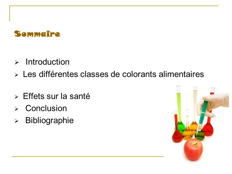 Sommaire Introduction Les différentes classes de colorants alimentaires Effets sur la santé Conclusion Bibliographie