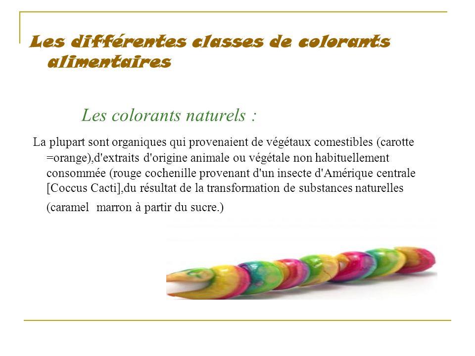 Les différentes classes de colorants alimentaires Les colorants naturels : La plupart sont organiques qui provenaient de végétaux comestibles (carotte