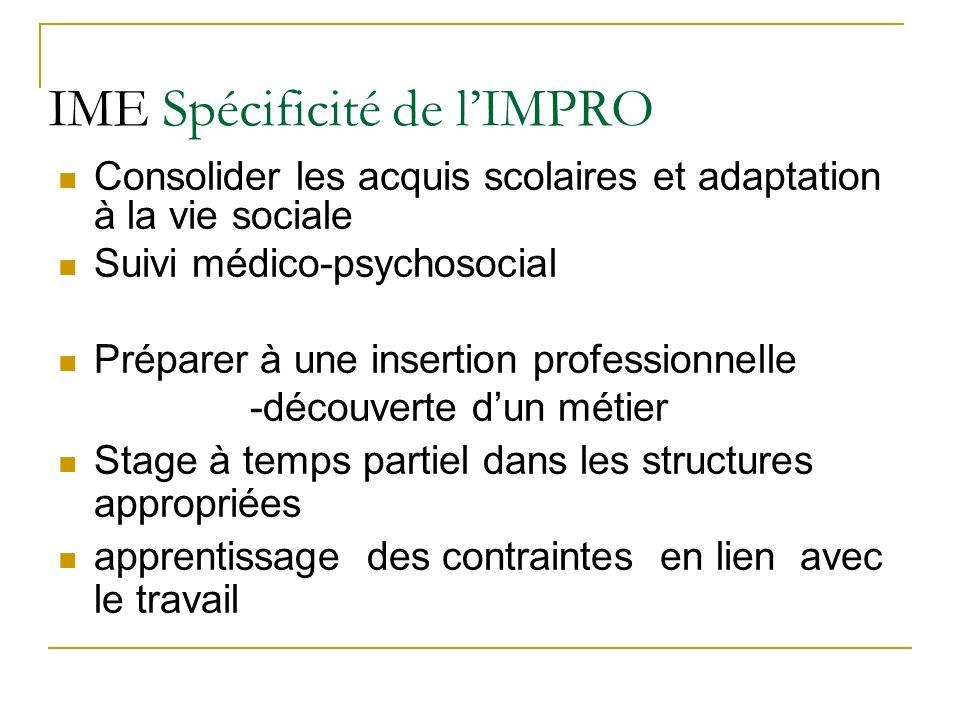 IME Spécificité de lIMPRO Consolider les acquis scolaires et adaptation à la vie sociale Suivi médico-psychosocial Préparer à une insertion profession