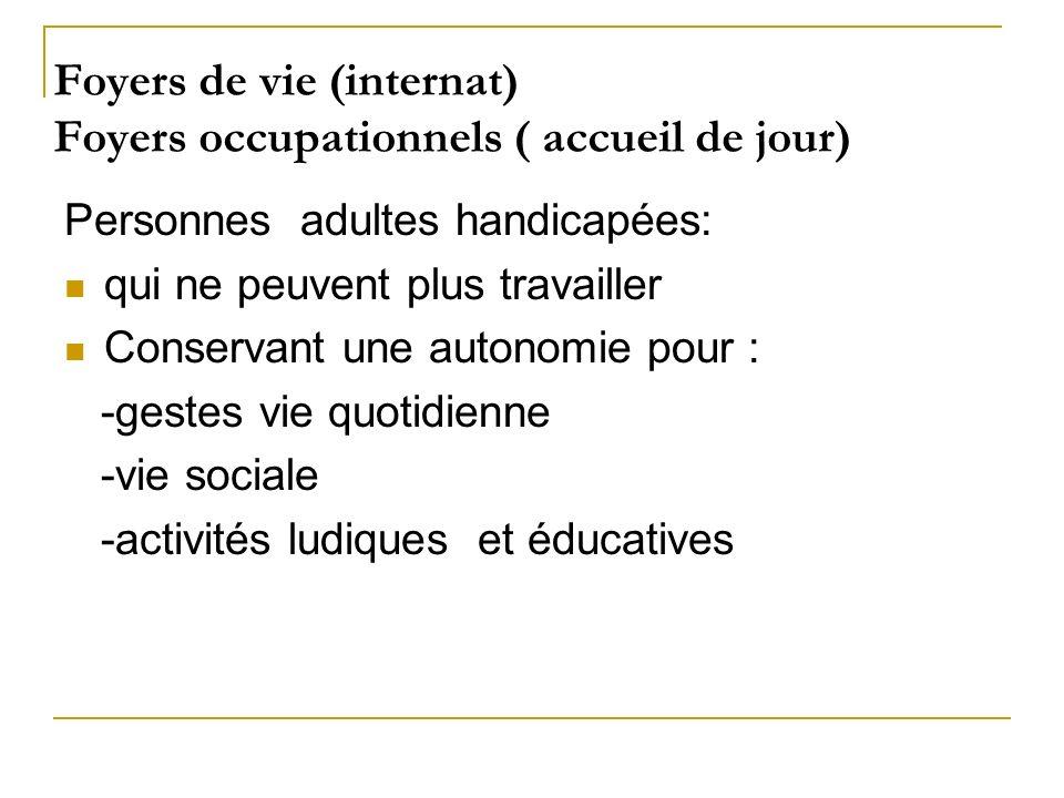 Foyers de vie (internat) Foyers occupationnels ( accueil de jour) Personnes adultes handicapées: qui ne peuvent plus travailler Conservant une autonom