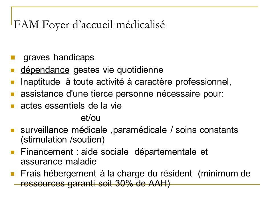 FAM Foyer daccueil médicalisé graves handicaps dépendance gestes vie quotidienne Inaptitude à toute activité à caractère professionnel, assistance d'u