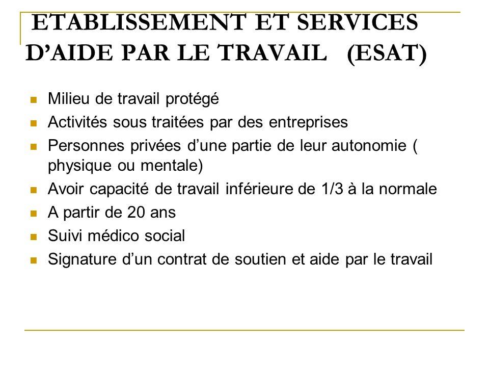 ETABLISSEMENT ET SERVICES DAIDE PAR LE TRAVAIL (ESAT) Milieu de travail protégé Activités sous traitées par des entreprises Personnes privées dune par