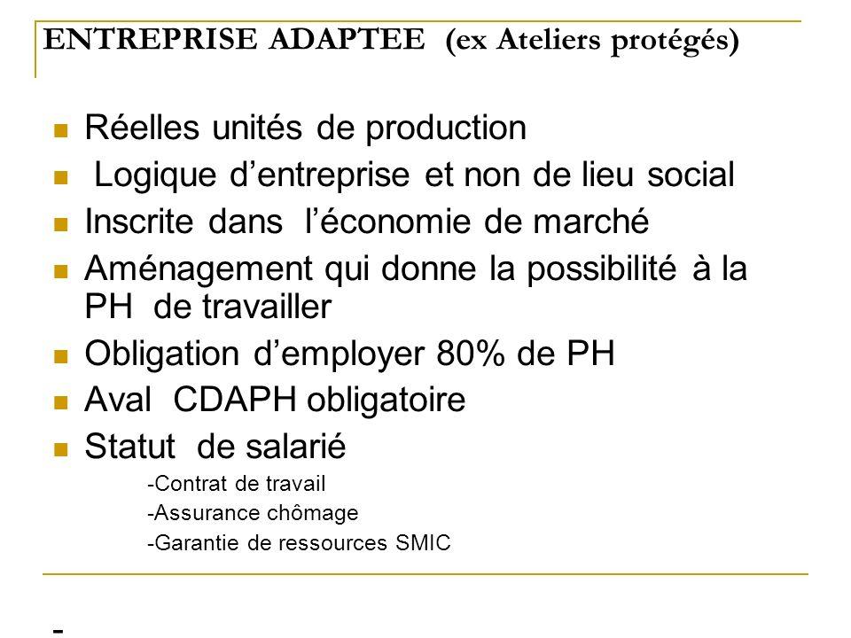 ENTREPRISE ADAPTEE (ex Ateliers protégés) Réelles unités de production Logique dentreprise et non de lieu social Inscrite dans léconomie de marché Amé