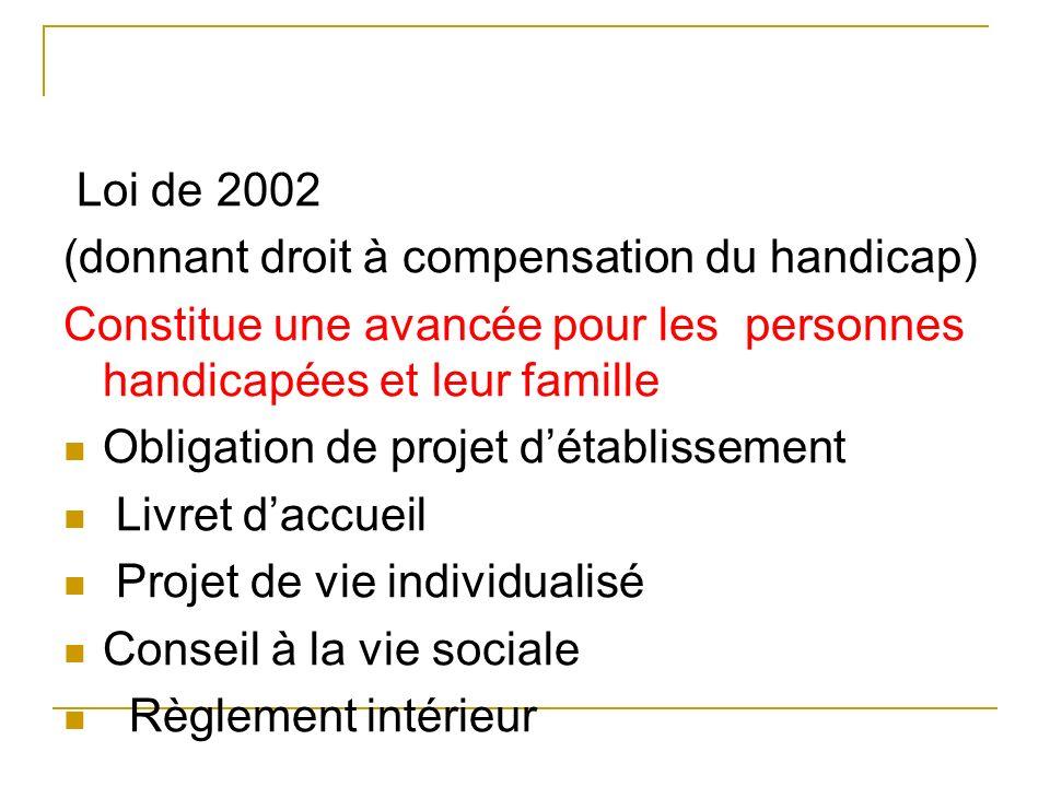 Loi de 2002 (donnant droit à compensation du handicap) Constitue une avancée pour les personnes handicapées et leur famille Obligation de projet détab