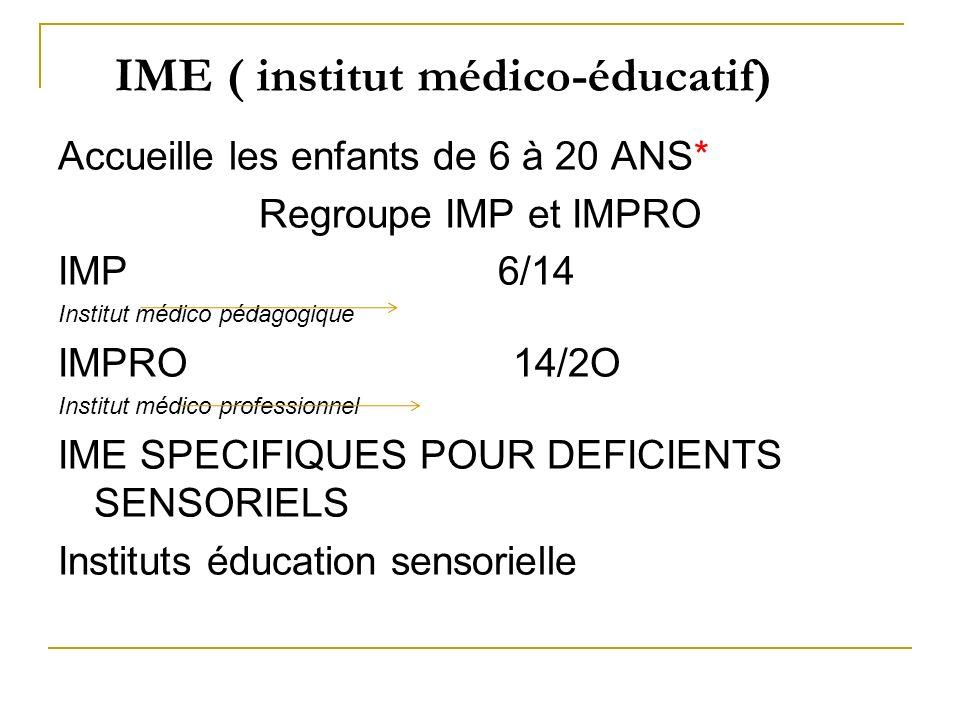 IME ( institut médico-éducatif) Accueille les enfants de 6 à 20 ANS* Regroupe IMP et IMPRO IMP 6/14 Institut médico pédagogique IMPRO 14/2O Institut m