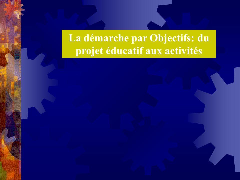 La démarche par Objectifs: du projet éducatif aux activités