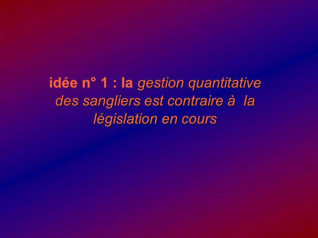 gestion quantitative des sangliers est contraire à la législation en cours idée n° 1 : la gestion quantitative des sangliers est contraire à la législ