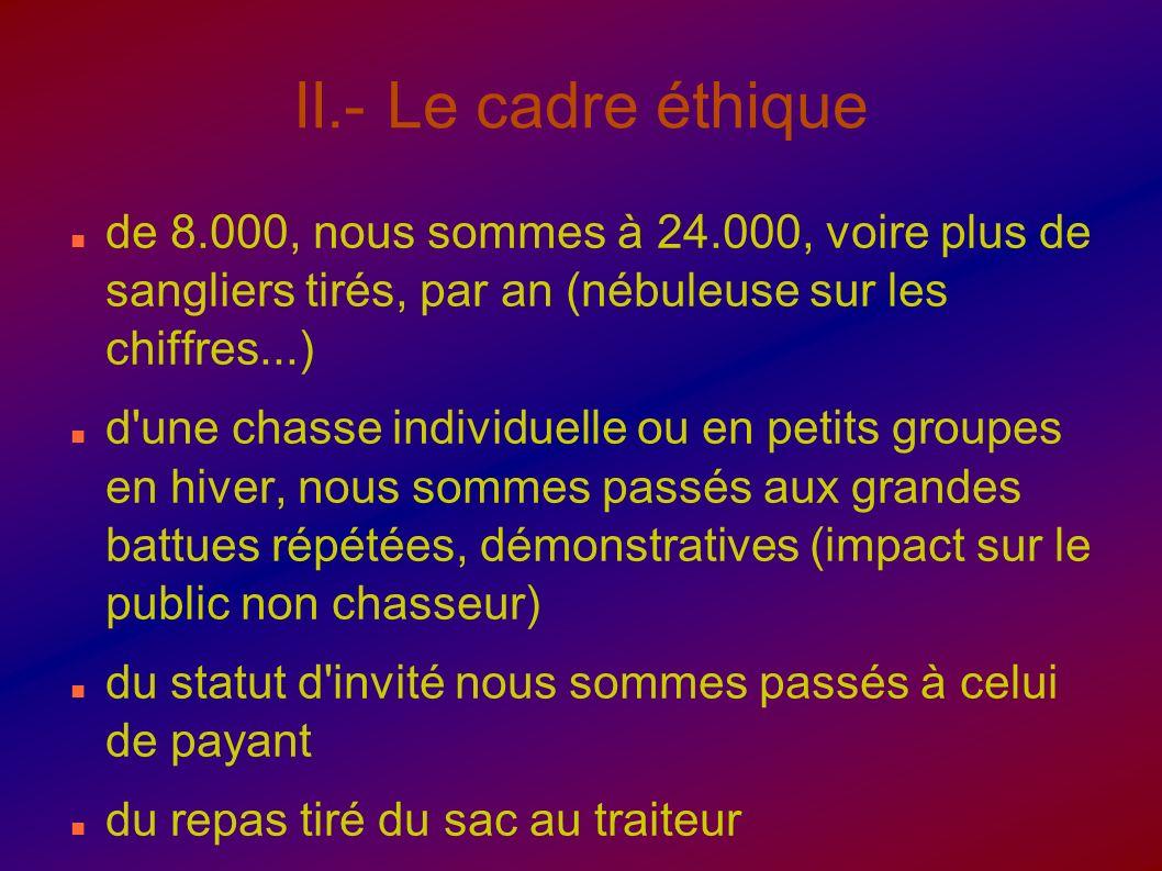 II.- Le cadre éthique de 8.000, nous sommes à 24.000, voire plus de sangliers tirés, par an (nébuleuse sur les chiffres...) d'une chasse individuelle