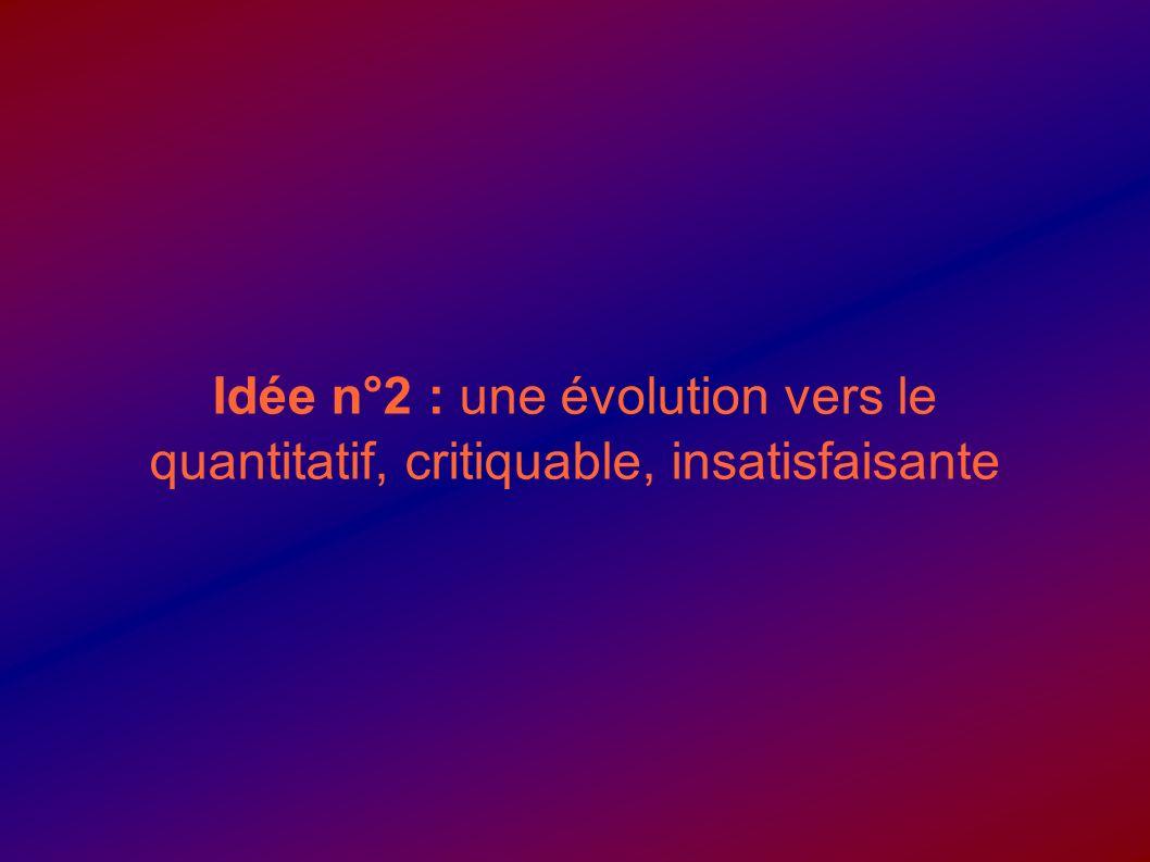 Idée n°2 : une évolution vers le quantitatif, critiquable, insatisfaisante