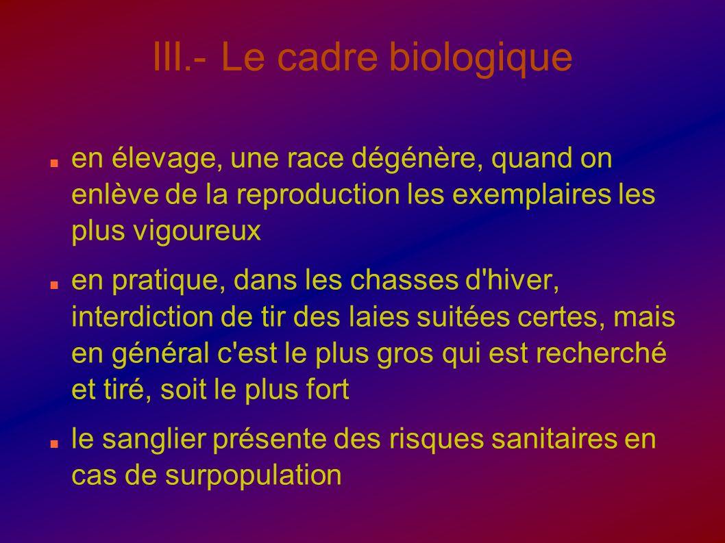 III.- Le cadre biologique en élevage, une race dégénère, quand on enlève de la reproduction les exemplaires les plus vigoureux en pratique, dans les c