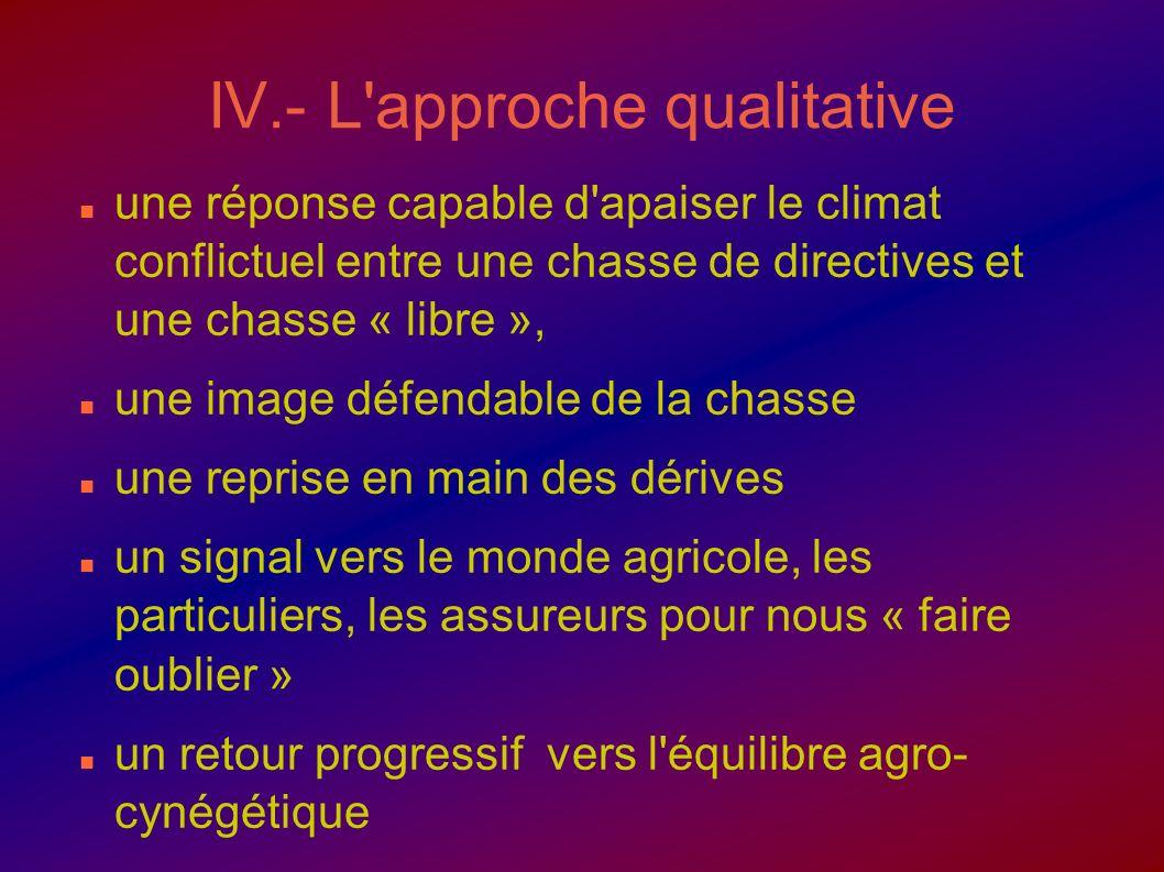 IV.- L'approche qualitative une réponse capable d'apaiser le climat conflictuel entre une chasse de directives et une chasse « libre », une image défe