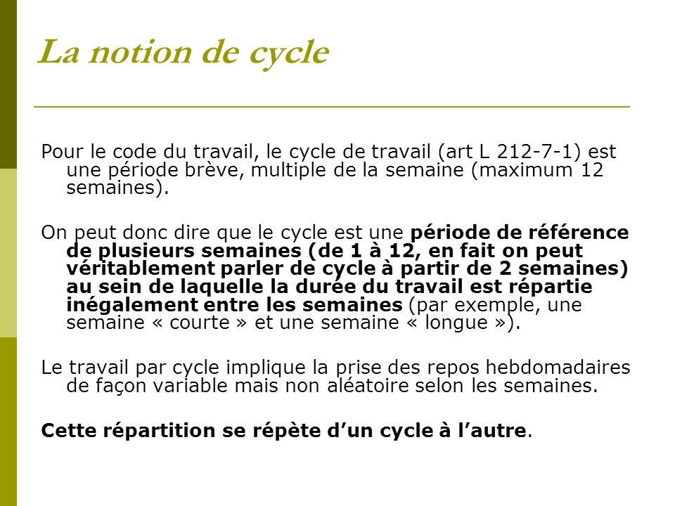 La notion de cycle Pour le code du travail, le cycle de travail (art L 212-7-1) est une période brève, multiple de la semaine (maximum 12 semaines). O