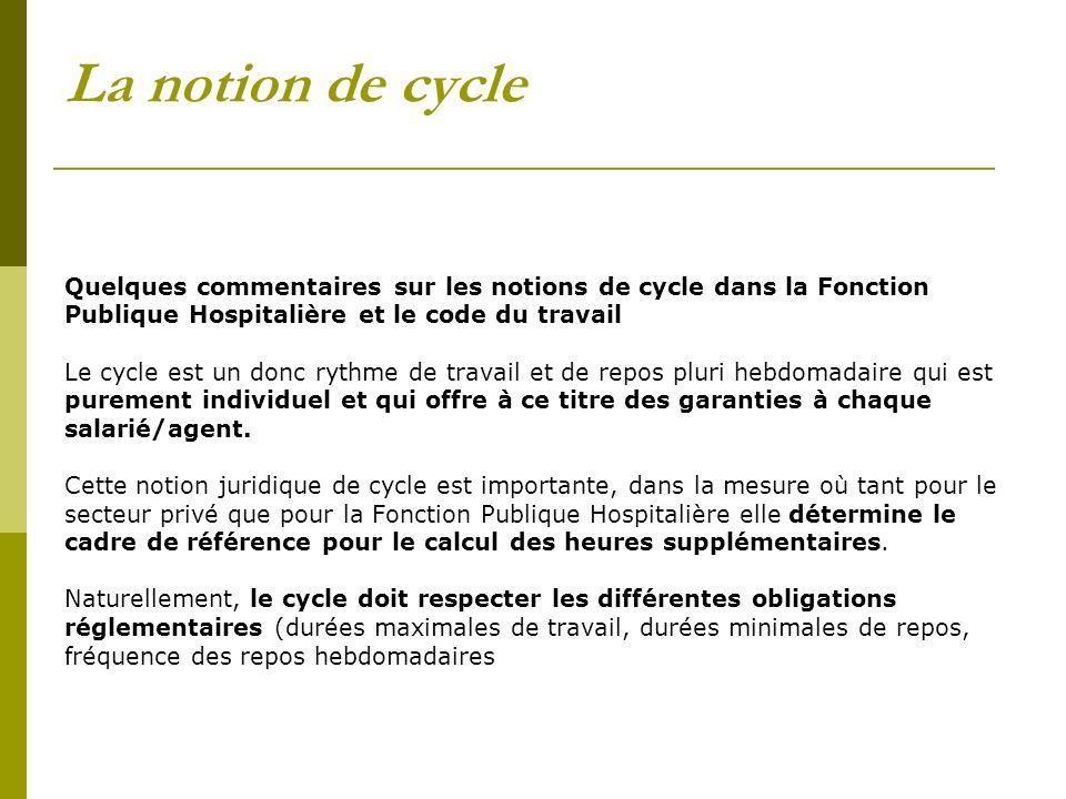 La notion de cycle Quelques commentaires sur les notions de cycle dans la Fonction Publique Hospitalière et le code du travail Le cycle est un donc ry