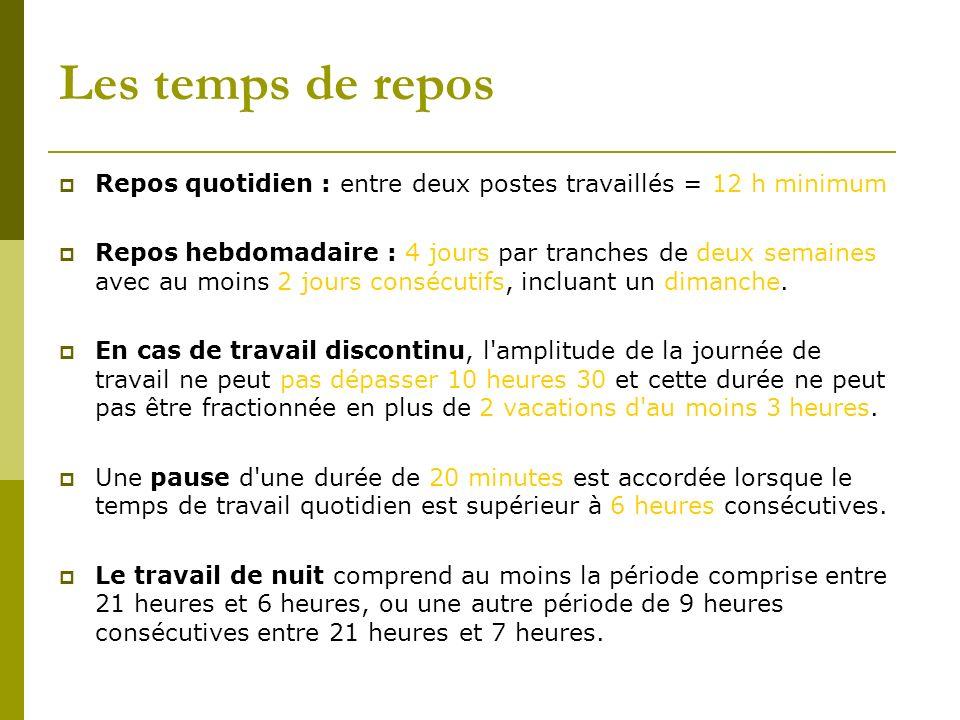 Repos quotidien : entre deux postes travaillés = 12 h minimum Repos hebdomadaire : 4 jours par tranches de deux semaines avec au moins 2 jours consécu