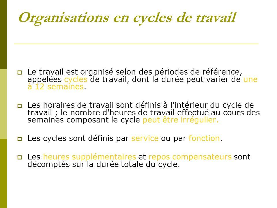 Organisations en cycles de travail Le travail est organisé selon des périodes de référence, appelées cycles de travail, dont la durée peut varier de u