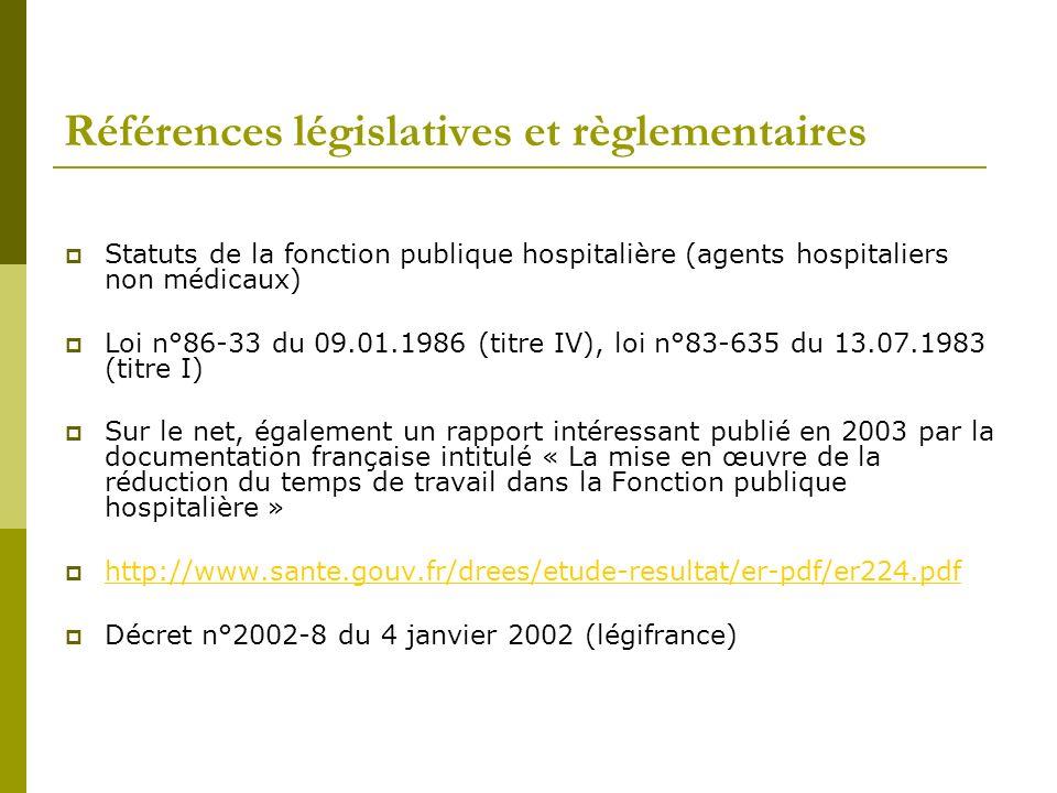 Références législatives et règlementaires Statuts de la fonction publique hospitalière (agents hospitaliers non médicaux) Loi n°86-33 du 09.01.1986 (t