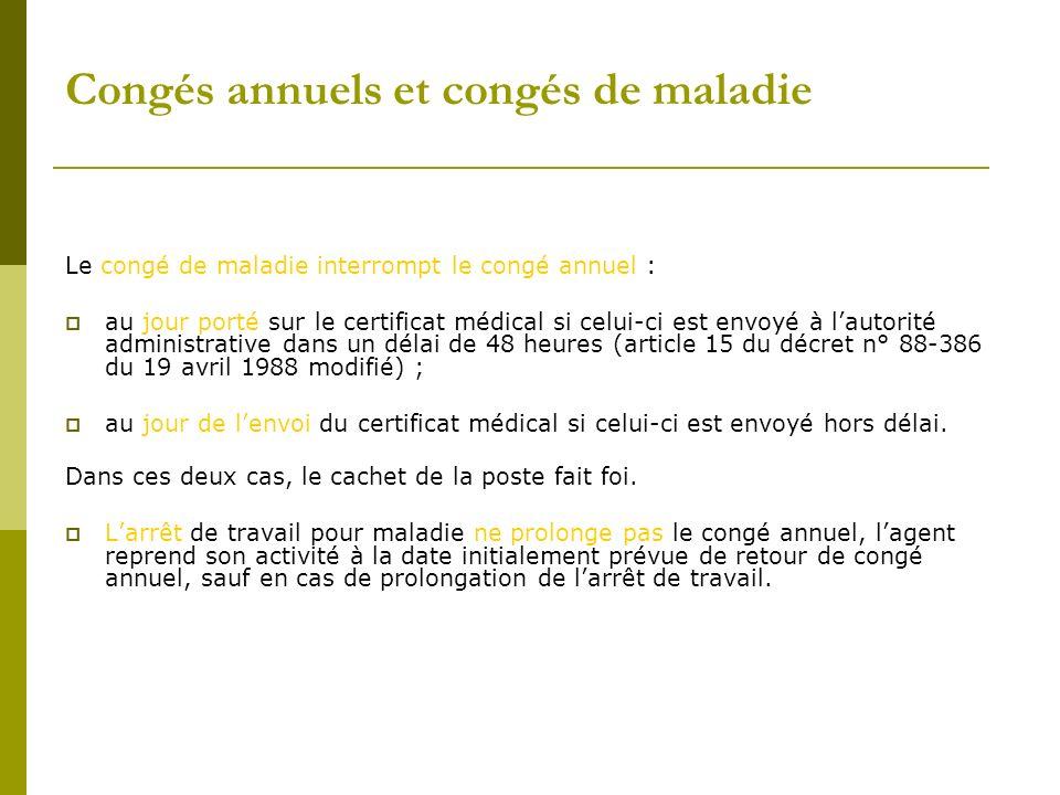 Congés annuels et congés de maladie Le congé de maladie interrompt le congé annuel : au jour porté sur le certificat médical si celui-ci est envoyé à