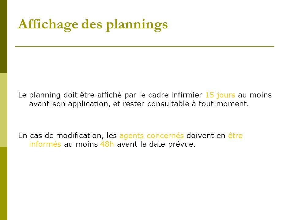 Affichage des plannings Le planning doit être affiché par le cadre infirmier 15 jours au moins avant son application, et rester consultable à tout mom