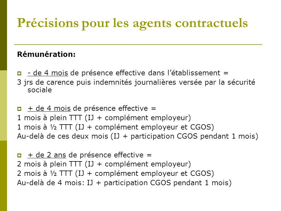 Précisions pour les agents contractuels Rémunération: - de 4 mois de présence effective dans létablissement = 3 jrs de carence puis indemnités journal