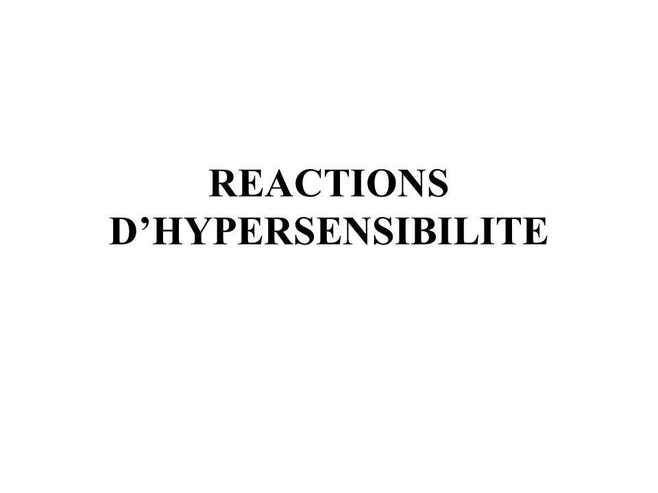 REACTIONS DHYPERSENSIBILITE =REACTIONS ALLERGIQUES Ce sont des réactions de mécanisme immunologique.