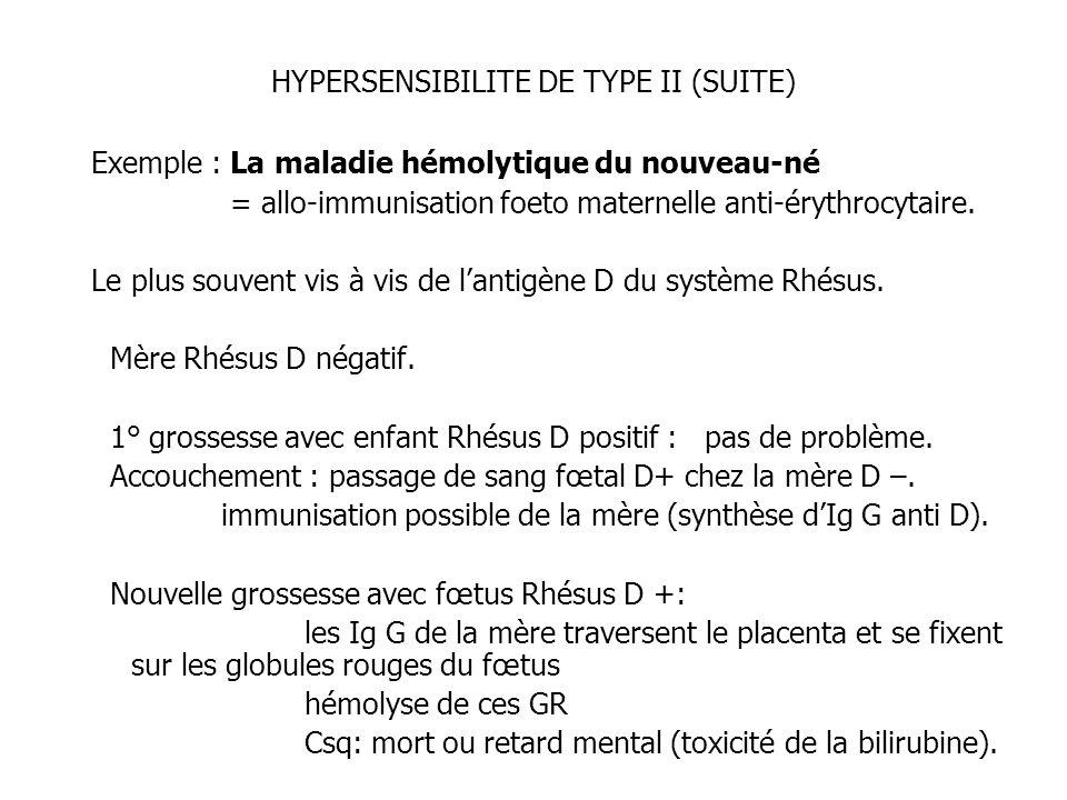 HYPERSENSIBILITE DE TYPE II (SUITE) Exemple : La maladie hémolytique du nouveau-né = allo-immunisation foeto maternelle anti-érythrocytaire. Le plus s
