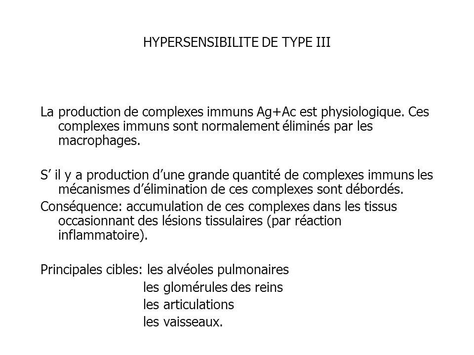 HYPERSENSIBILITE DE TYPE III La production de complexes immuns Ag+Ac est physiologique. Ces complexes immuns sont normalement éliminés par les macroph