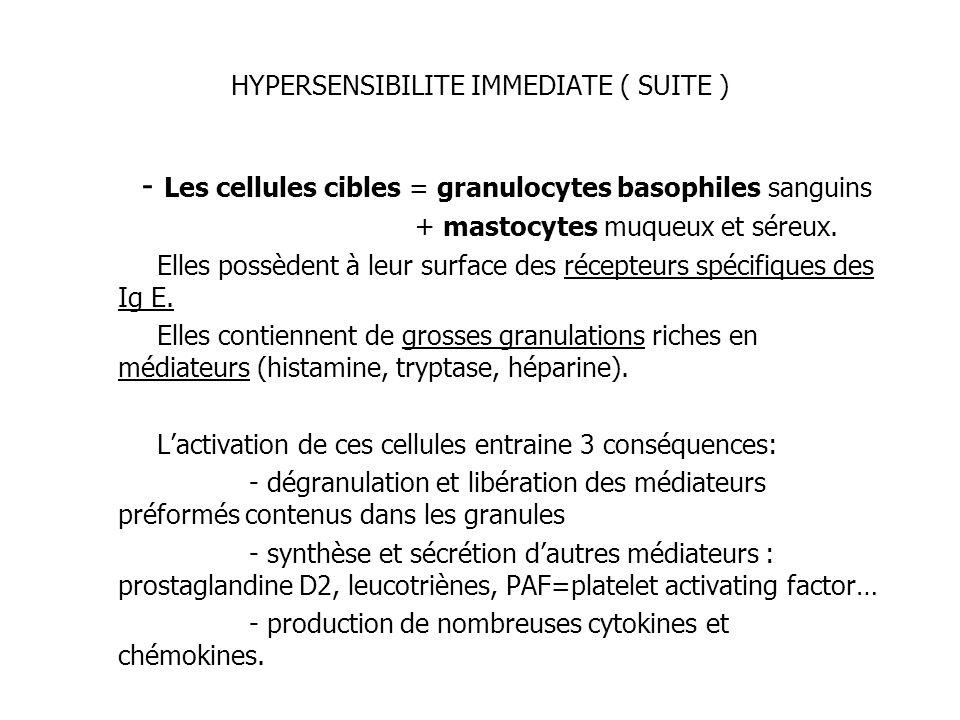 HYPERSENSIBILITE IMMEDIATE ( SUITE ) - Les cellules cibles = granulocytes basophiles sanguins + mastocytes muqueux et séreux. Elles possèdent à leur s