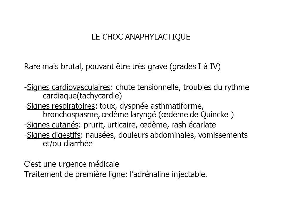 LE CHOC ANAPHYLACTIQUE Rare mais brutal, pouvant être très grave (grades I à IV) -Signes cardiovasculaires: chute tensionnelle, troubles du rythme car