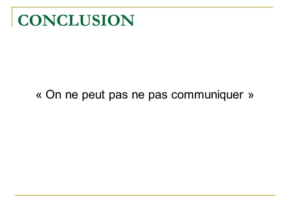 CONCLUSION « On ne peut pas ne pas communiquer »
