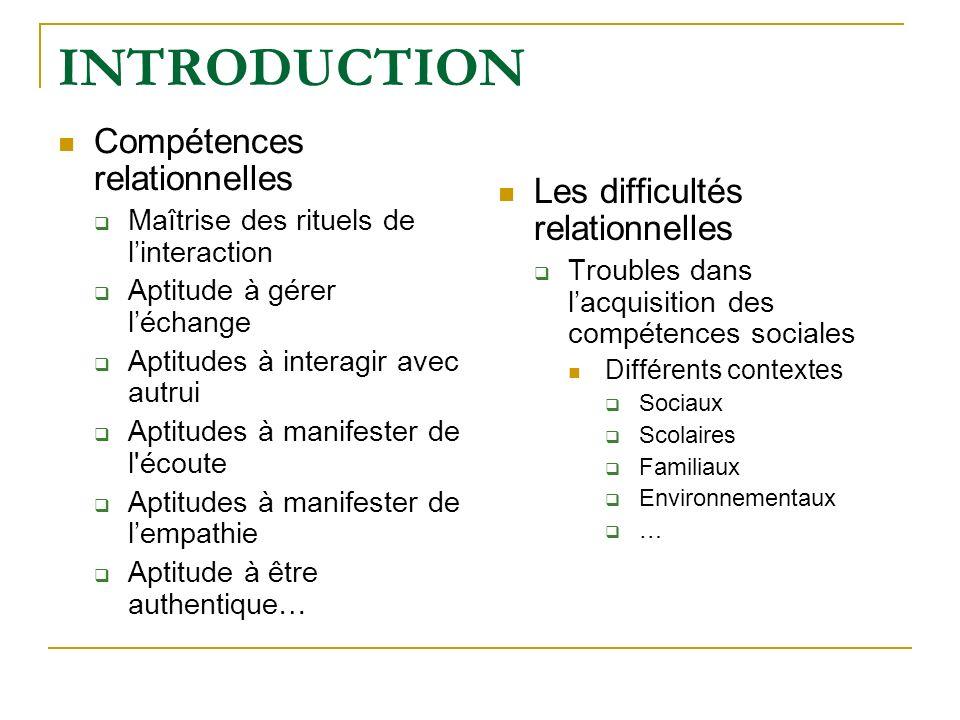 INTRODUCTION Compétences relationnelles Maîtrise des rituels de linteraction Aptitude à gérer léchange Aptitudes à interagir avec autrui Aptitudes à m