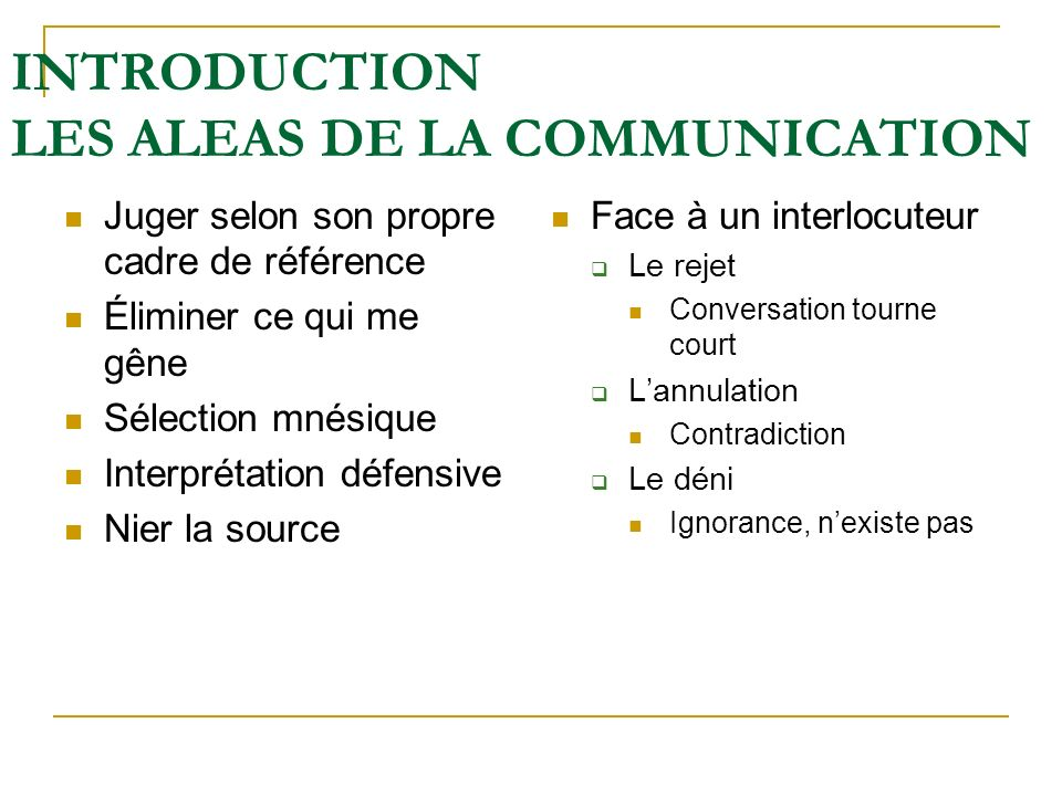 INTRODUCTION LES ALEAS DE LA COMMUNICATION Juger selon son propre cadre de référence Éliminer ce qui me gêne Sélection mnésique Interprétation défensi