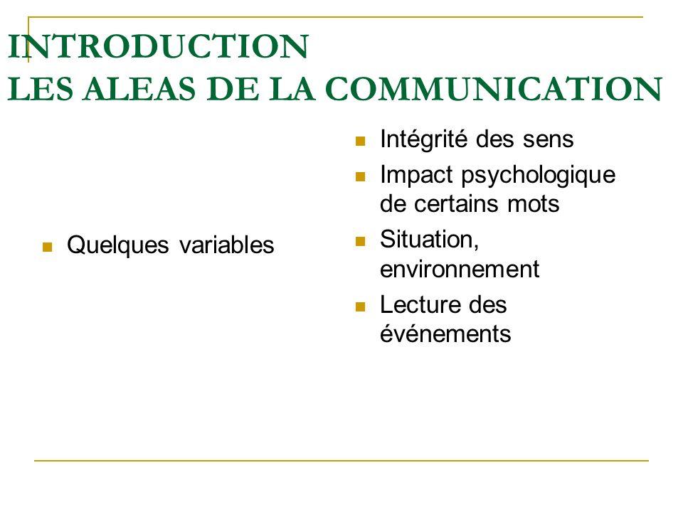 INTRODUCTION LES ALEAS DE LA COMMUNICATION Quelques variables Intégrité des sens Impact psychologique de certains mots Situation, environnement Lectur