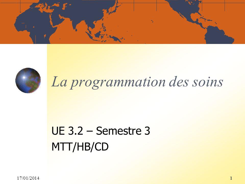 17/01/201411 La programmation des soins UE 3.2 – Semestre 3 MTT/HB/CD