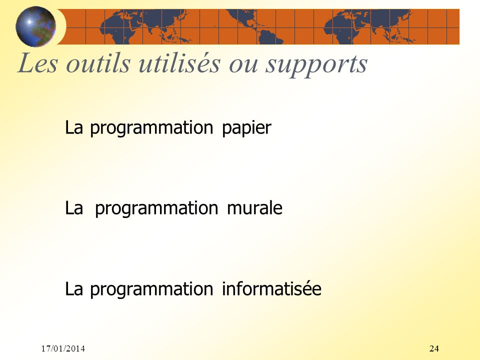 17/01/201424 Les outils utilisés ou supports La programmation papier La programmation murale La programmation informatisée