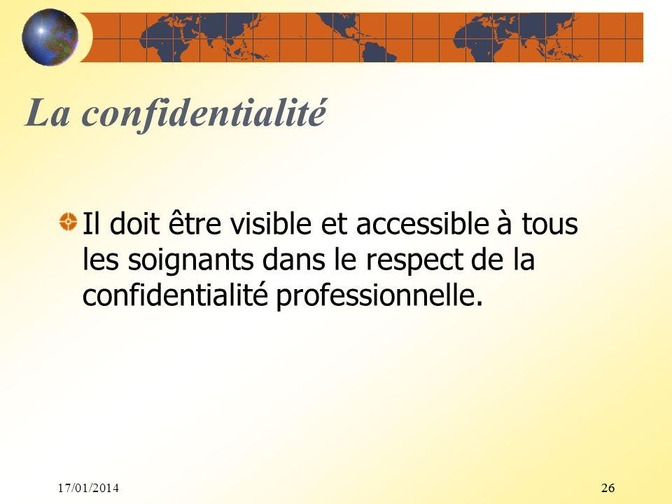 17/01/201426 La confidentialité Il doit être visible et accessible à tous les soignants dans le respect de la confidentialité professionnelle.